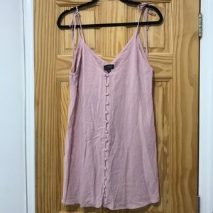 Topshop button up tie strap baby pink dress